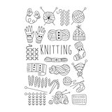 Knitting. Black and White Vector Hand drawn Set.