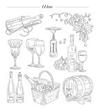 Wine and Accessories, Hand drawn Vector Set