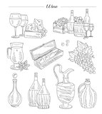 Wine and Grapes, Hand drawn Vector Set