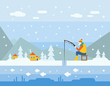 Winter Fishing. Vector Illustration