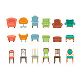 Furniture for Sitting. Chairs, Armchairs, Stools Icons. Vector Illustration