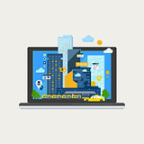 City Landscape in Laptop. Vector Illustration