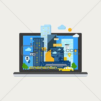City Landscape in Laptop. Vector Illustration