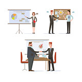 Businessman Presentations and Charts. Vector Illustration Set