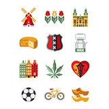 Netherlands Symbols and Landmarks Vector Illustration Set