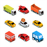 Isometric City Transport Vector Illustration Set