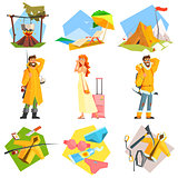 Travel and Vacation. Colourful Vector Illustration