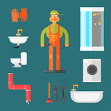 Plumber and Equipment Vector Illustration