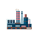 Industrial Factory Building Vector Illustration