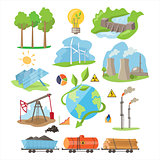 Energy Eco Resources. Vector Illustration Set