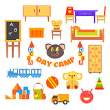 Kindergarten Preschool Set. Vector Illustration.