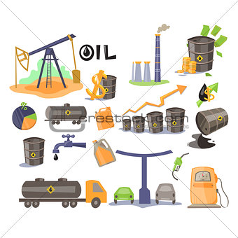 Oil Icon Set. Vector Illustration