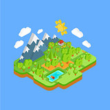 Natural Landscape with Mountains River and Forest. Vector Flat Isometric 3D Concept.