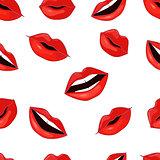 Red Lips Pattern. Vector Illustration