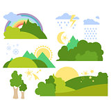 Summer Forest Flat Background Vector Set