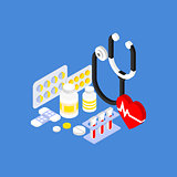 Medical Instruments and Pills Flat Isometric Illustration