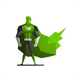 Superhero In Green Suite Vector Illustration
