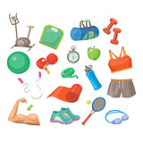 Sports Accessories, Vector Illustration Set