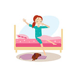 Waking Up. Daily Routine Activities of Women. Vector Illustration