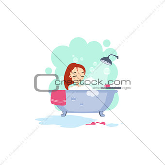 Bathing. Daily Routine Activities of Women. Vector Illustration