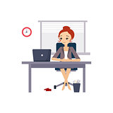 Woman at Office. Daily Routine Activities of Women. Vector Illustration