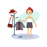 Dressing Down. Daily Routine Activities of Women. Vector Illustration
