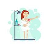 Taking a Shower. Daily Routine Activities of Women. Vector Illustration