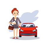 Parking at Work. Daily Routine Activities of Women. Vector Illustration