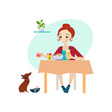 Eating at Home. Daily Routine Activities of Women. Vector Illustration