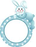 Baby boy round frame bunny
