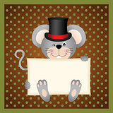 Mouse holding a blank sign background
