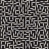 Vector Seamless Black and White Irregular Arc Grid Geometric Pattern
