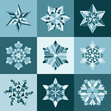 Vector Blue White SnowFlake Shape Elements