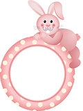 Baby girl round frame bunny