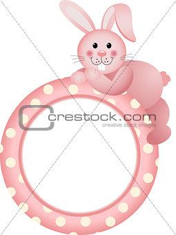 Baby girl round frame bunny