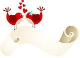 Couple birds with love parchment