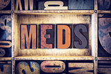 Meds Concept Letterpress Type