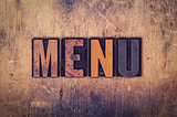 Menu Concept Wooden Letterpress Type