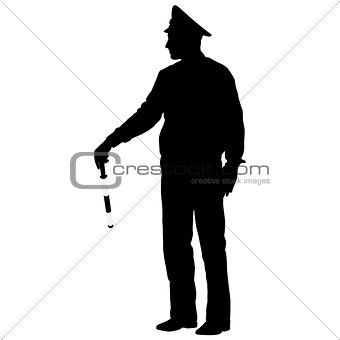 Black silhouettes  Police officer  with a rod on white backgroun