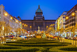Bokeh photo of Wenceslas Square at night, Prague, Czech Republic