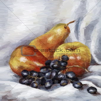 Apples, Pears and Grapes. Vector