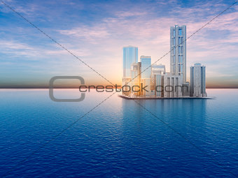 Floating City on Water