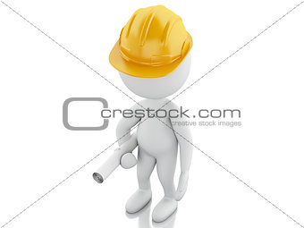 3d White people with helmet and plans