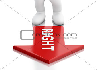 3d White business people and red arrow. Success concept