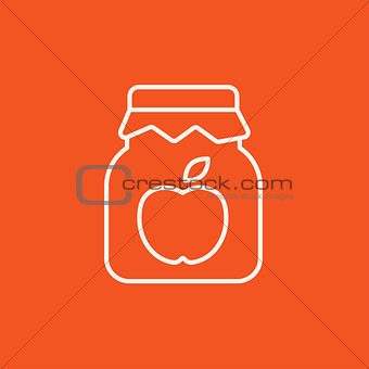 Apple jam jar line icon.