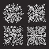 Rectangular floral folk ornament