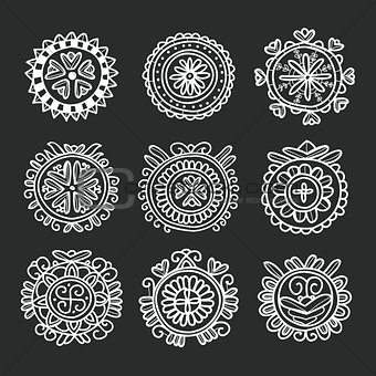 Circle shape floral folk ornament