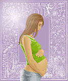 Pregnant Female With Belly Against Love Background