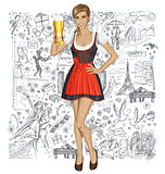 Vector Cute Woman In Drindl With Beer Against Love Background