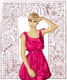 Vector Surprised Blonde in Pink Dress Against Love Background